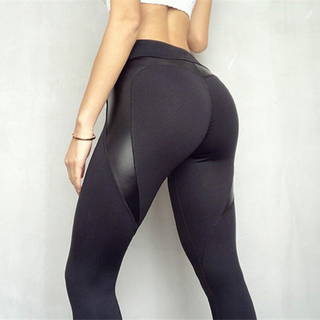 Women's Leather Paneled  Sport Leggings