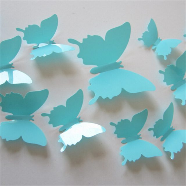 Adhesive Butterfly Wall Stickers for Home Decor, 12 Pcs/Lot