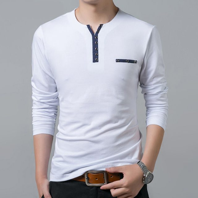 Fashion Long-Sleeved Breathable Cotton Men's T-Shirt