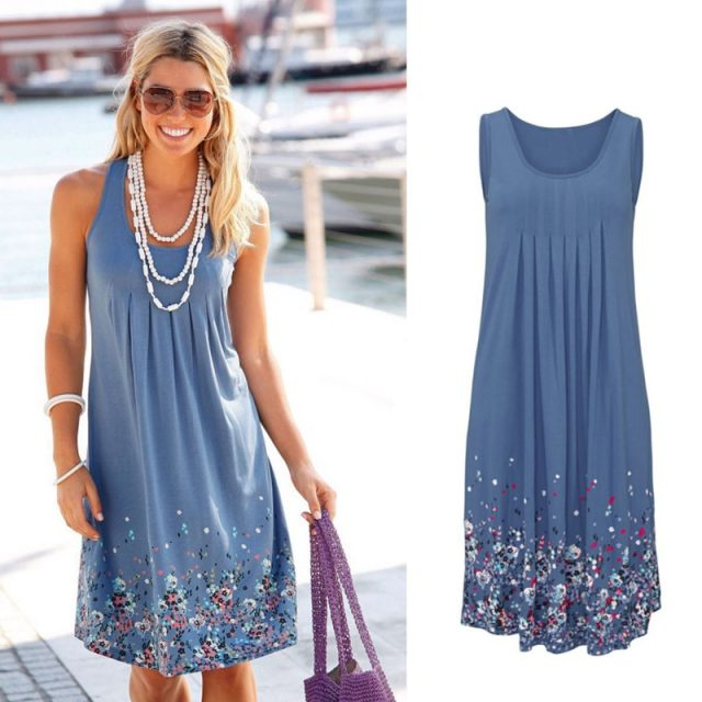Women's Sleeveless Floral Printed Dress