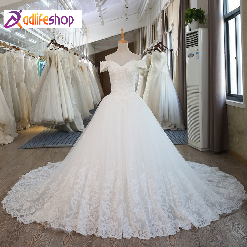 SL-100 Real Pictures White Ball Gown Bridal Dress mariage Vintage Muslim Plus Size Lace Wedding Dress 2020 Princess with Sleeve