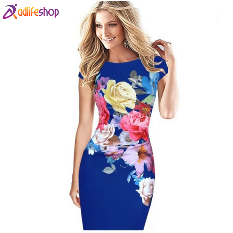 Hot!S-5XL Summer Dress 2020 Elegant Fashion Large Size Women Rose Print Stitching Elastic Slim Bag Hip pencil Dress Wholesale