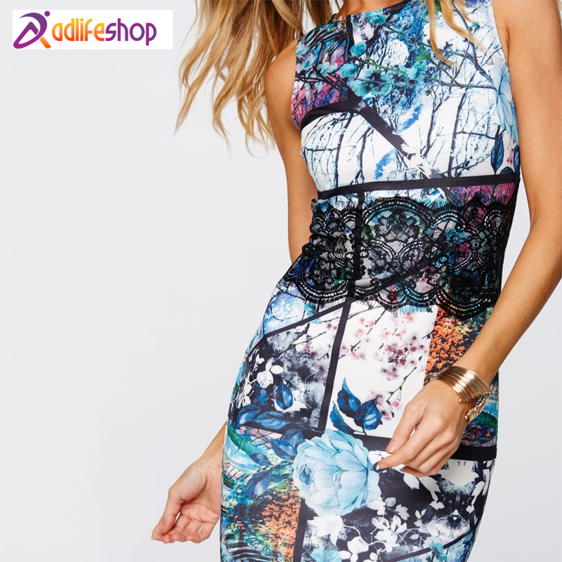 Summer Fashion Mini Maxi Sexy Dress Party Dresses Hot Sale High-quality Printing Sleeveless Round Neck Lace Decoration 1707