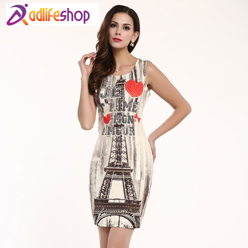 Hot Sale New Women's Apparel High-Quality Printing Sleeveless Round Neck Mini Fashion Summer Dress Personality Dresses 71182