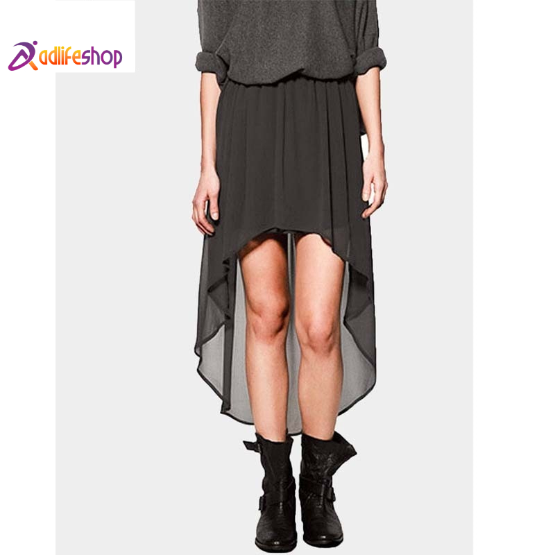 Nice-forever Summer Casual Pure Color A-line Skirt with Asymmetrical Length Women Flare Skirts 361