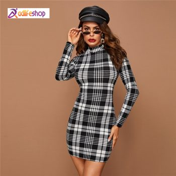 Black And White Plaid Stand Collar Bodycon Dress Long Sleeve