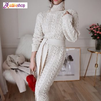 Winder Knitted Sweater Dress With Blet Women Pullover Female