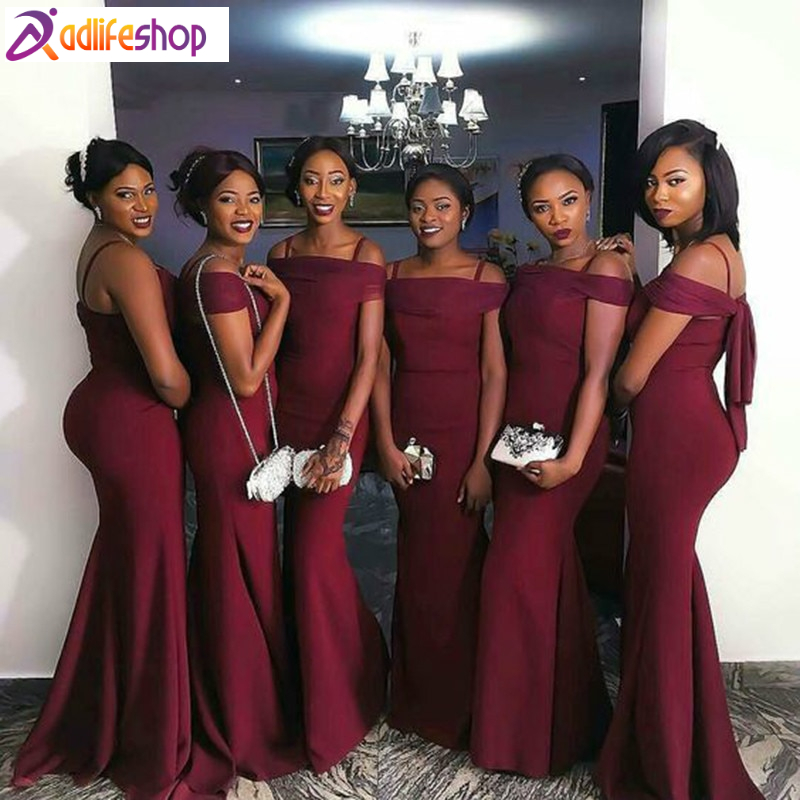 Wine Red Bridesmaid Dress Wedding Ceremony Women Off-shoulder African Formal Maid of Honor Gown Plus Size Custom Made