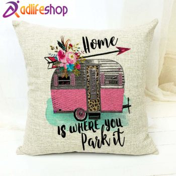 Happy Campers Adventure Waiting For Car Trip Cushion Cover Hawaii Travesseiro Camping 17 * 17 Inch Cotton Linen Pillow Covers