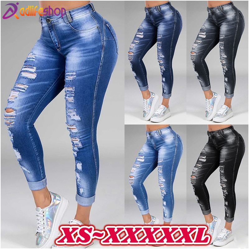 Washed Ripped Jeans Women Plus Size S-5XL Korean High Waist Trousers Skinny Denim Jeans Black Blue Hollow Bleached Pencil Pants