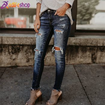 Boyfriend Hole Ripped Jeans Women Pants Cool Denim Vintage skinny push up jeans High Waist Casual ladies jeans Slim mom jeans