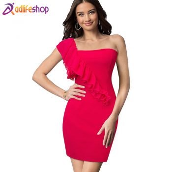 Nice-forever Summer Sexy Strapless Club Dresses Bodycon Slim Women Sheath Dress 273