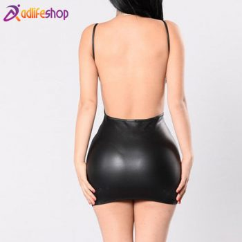 2019 Hot Sale Women Sleeveless Bodycon Party Sexy  Mini Leather Dress Summer Backless Night Club Wear Black Package Hip Dress