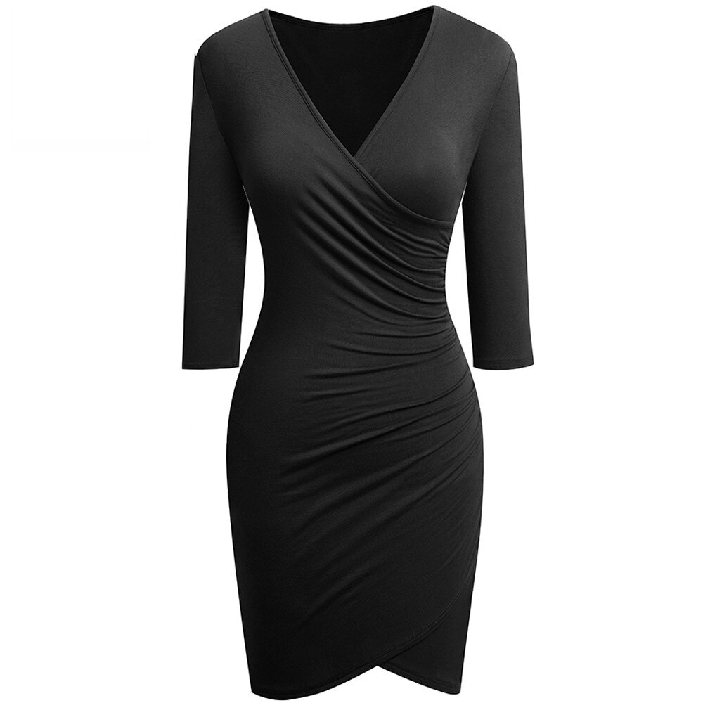 Casual V-neck Sexy Elegant Charming Dress Fitted Bodycon Party Classic Fashion Dress EB544