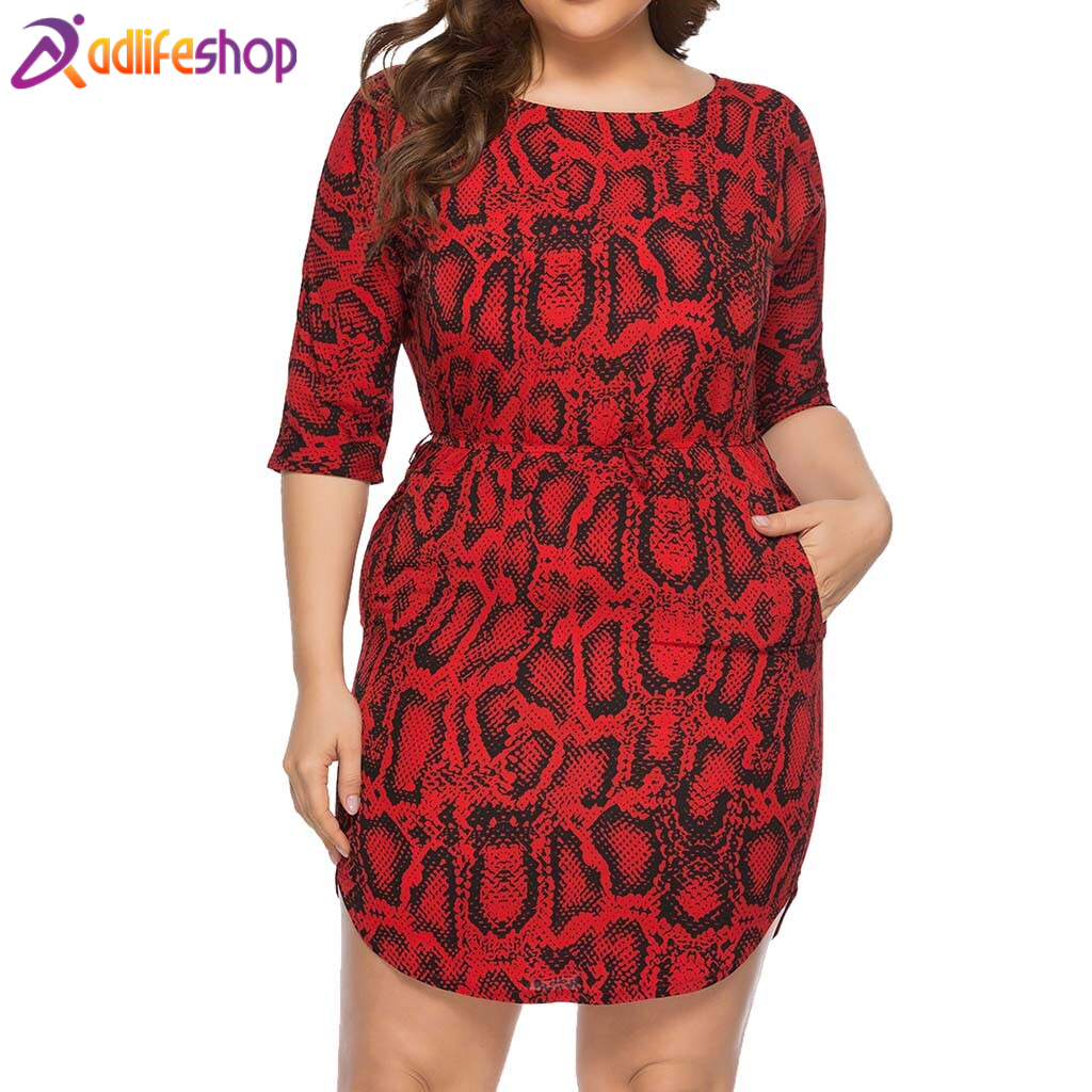 Womail dress woman Summer Sexy Plus Size O-Neck Half Sleeve Snake Skin Print party Daily Casual fashion NEW 2019 A26