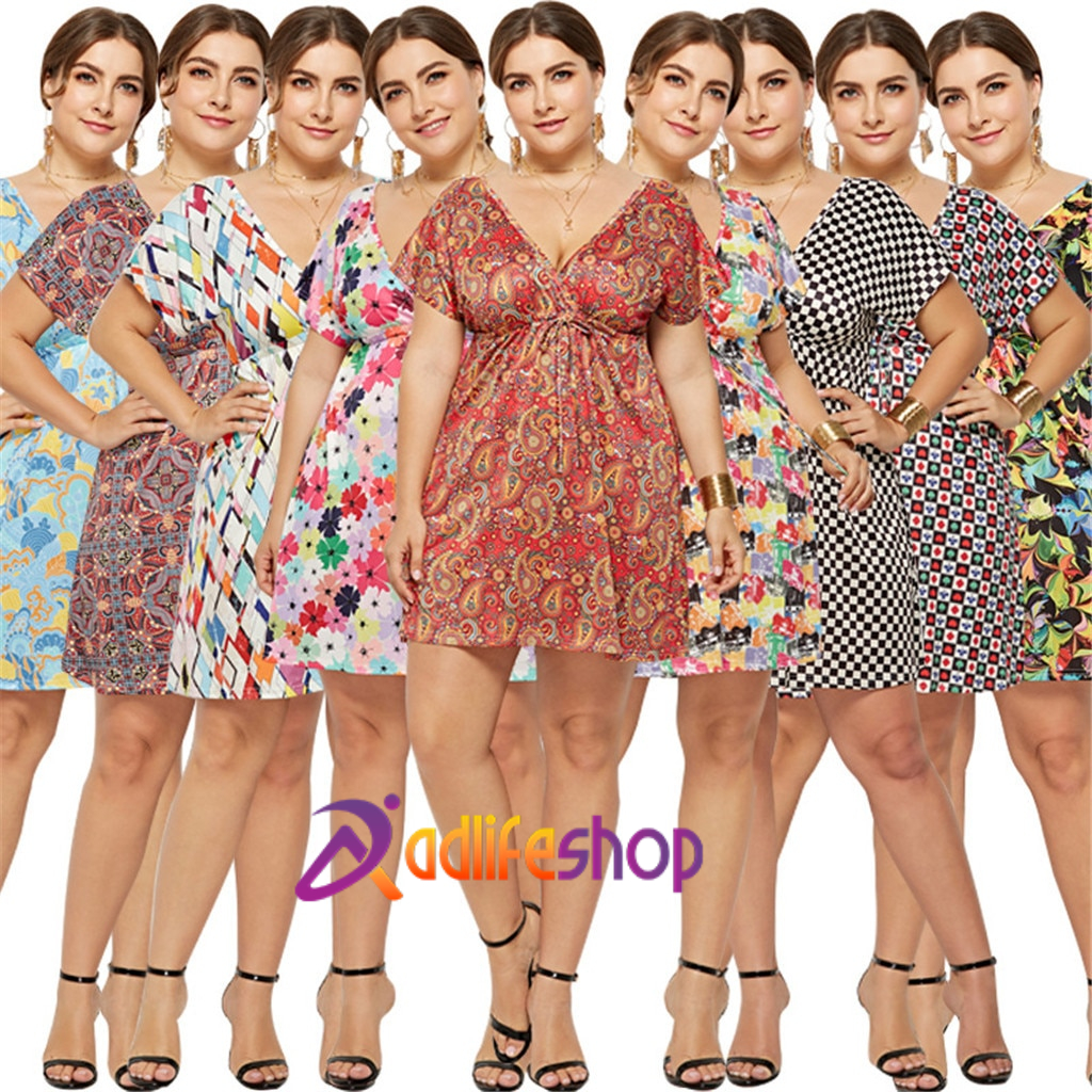 Womail dress Summer Women Plus Size Casual V-neck Print Large Size Dress Holiday Seaside Beach Party elegant  2020  M11
