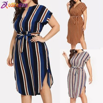 Womail dress Woman Summer fashion Plue Size Colorful Short Sleeve O-Neck Loose 5XL party Dress Holiday elegant Beach 2019 M515