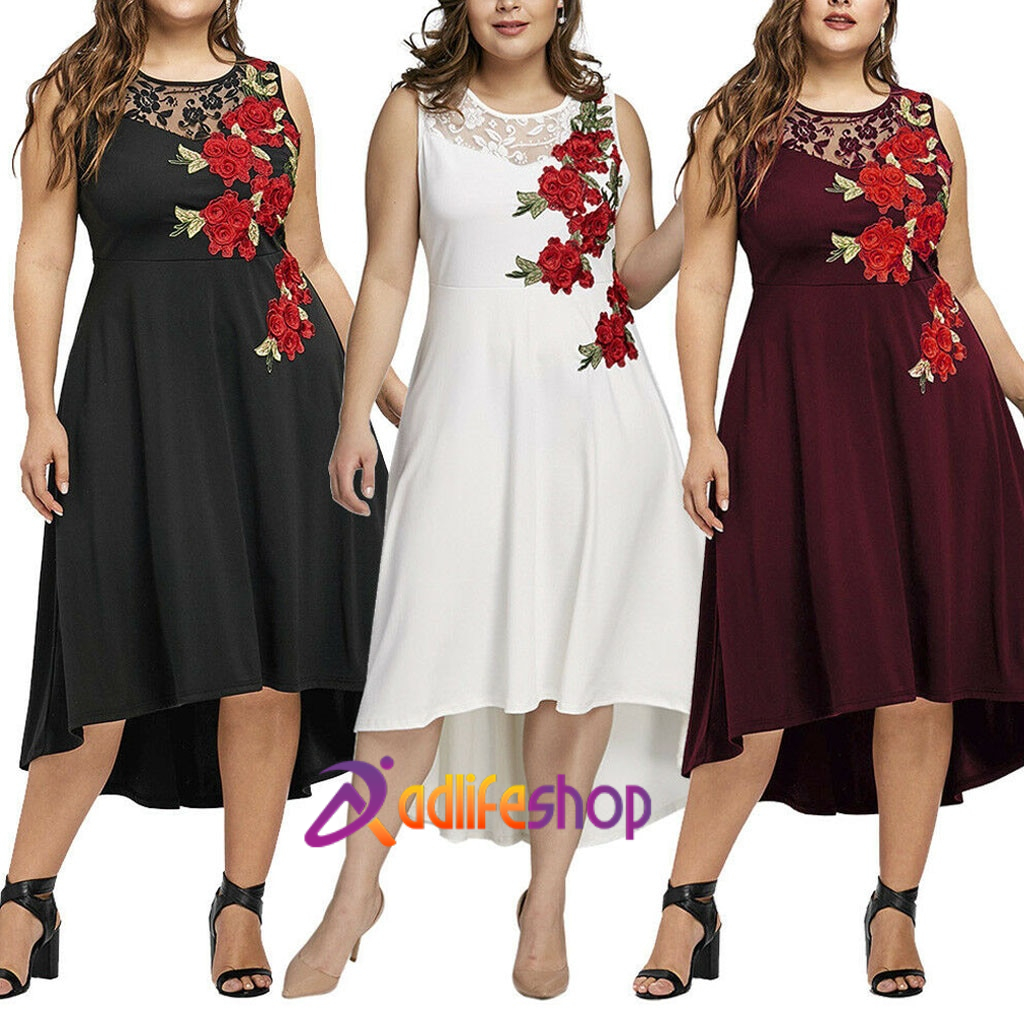 Womail dress Summer Women Plus Size Sleeveless O-Neck Appliques Zipper Perspective Mesh Dress Casual Loose NEW  2020  A1