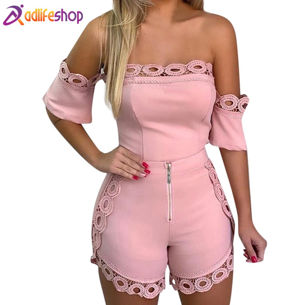 Womail Women tracksuit summer Fashion Casual 2 Piece Solid Lace Off Shoulder Strapless Tops+Short Set Zipper holiday Loose J611