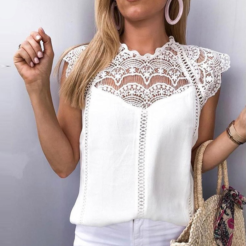 Womens Tops Blouses Lace Patchwork Blusas Roupa Feminina Shirt