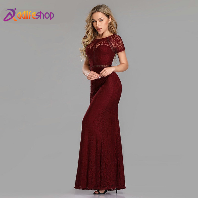 Ever Pretty Evening Dresses Long 2020 Sexy Little Mermaid Full Lace Short Sleeve See Through Special Occasion Gowns EZ07752