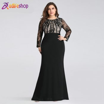 Evening Dresses Long 2020 Ever Pretty EZ07771 Elegant Mermaid Lace Full Sleeve O-neck Plus Size Mother of the Bride Dresses