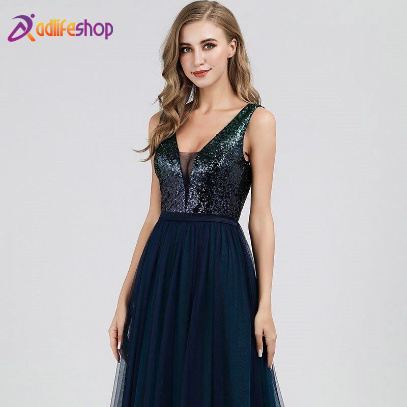Elegant Evening Dresses Long Ever Pretty V-Neck A-Line Sleeveless Sequined Formal Dresses EP07910NB Sparkle Party Gowns 2020