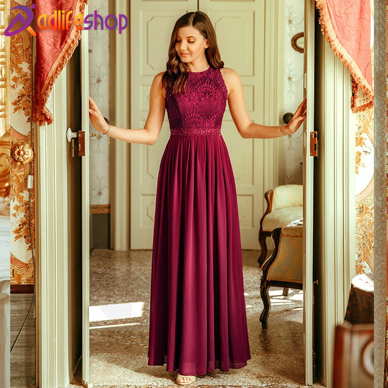 Long Evening Lace Dresses A Line Pleated Chiffon