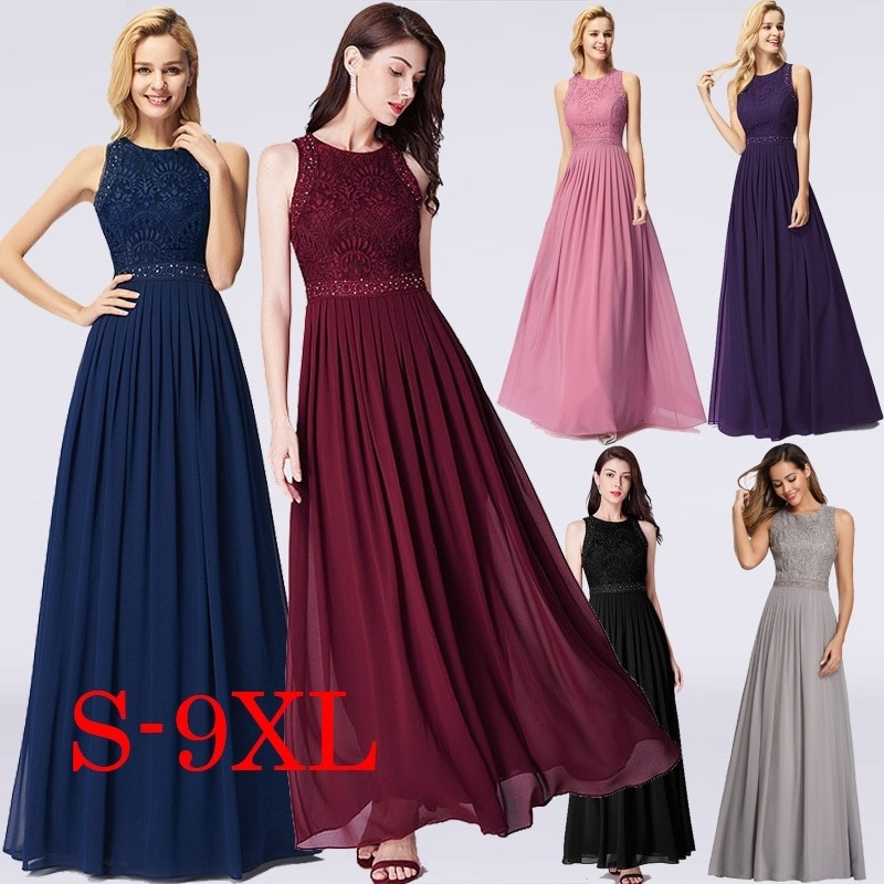 Long Evening Dresses 2020 Ever Pretty Elegant Beading A Line Pleated Chiffon Lace Formal Dress Party Gown EP07391 robe de soiree
