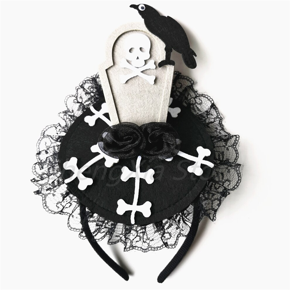 Halloween Ghost Festival Tombstone Atmosphere Headwear Fancy Dress Party Party Horror Decoration Props Lace Hair Accessories Hea