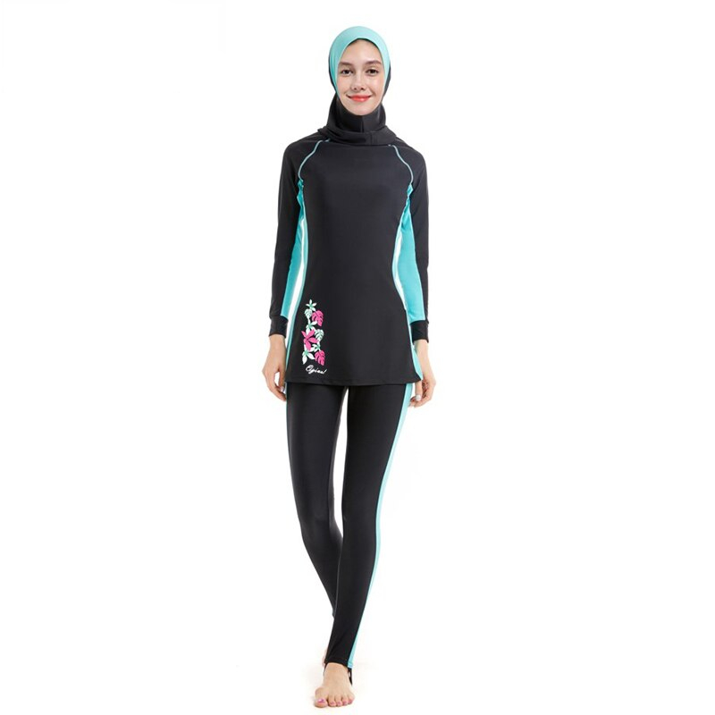 HAOFAN Full Cover Muslim Swimwear Hajib Islamic Swimsuit For Women Modest Splice Conservative Burkinis Swim Wear Plus Size 6XL
