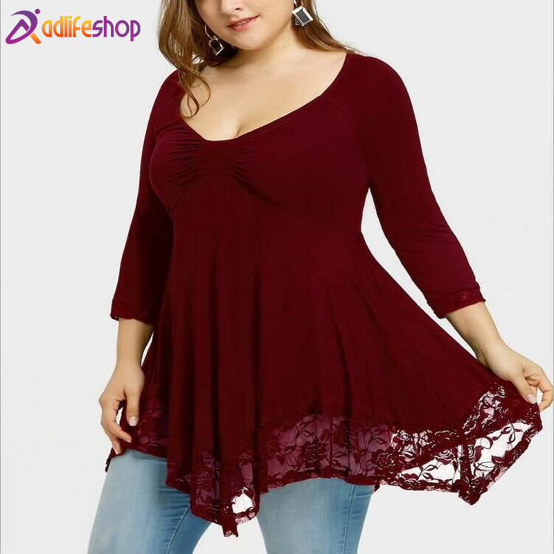 Summer new large size 4XL 5XL 6XL 7XL 8XL bust 128CM women's lace hem sexy round neck stitching dress