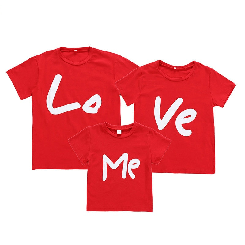 2019 Family Matching Clothes Women Day Mother Daughter Baby Boy Kid Girls Father Son Short Sleeve Valentine Top Love Me T-shirt
