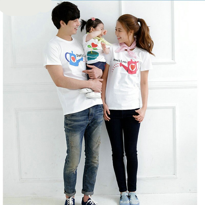 Cotton Matching Father Son Mother Daughter Tshirt Outfits Family Look Short Sleeve Daddy Mom Kids Baby Boy Girl Love T-shirts