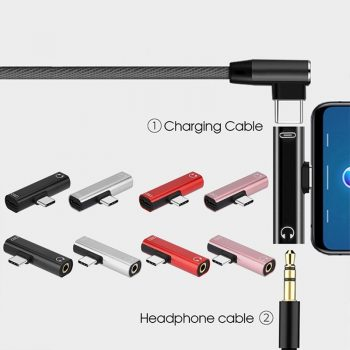 Dual Adapter Splitter 2 in 1 USB Type C to 3.5mm Connector for Xiaomi Huawei  JMG Portable Charger Audio Headphone Adapter