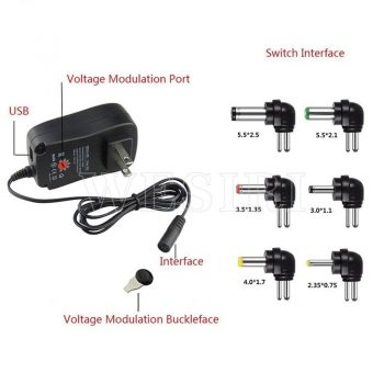 3V 4.5V 5V 6V 7.5V 9V 12V 2A 2.5A AC DC Adaptor Adjustable Power Adapter Universal Charger Supply 30W