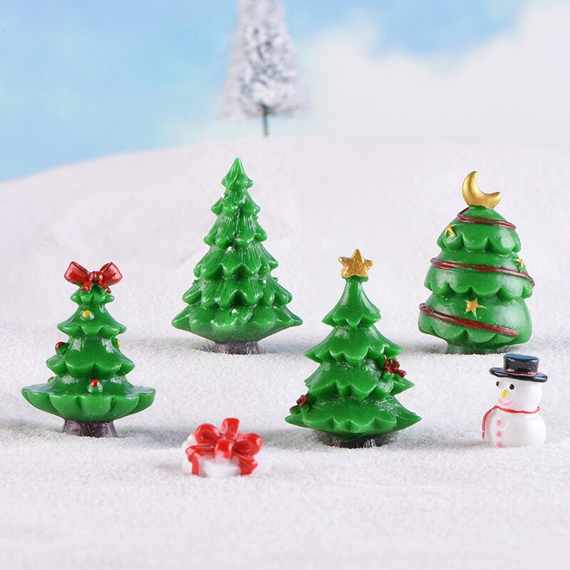 New Christmas Green Tree miniature figurine 3D Resin Model landscape dollhouse home fairy garden decoration accessories modern
