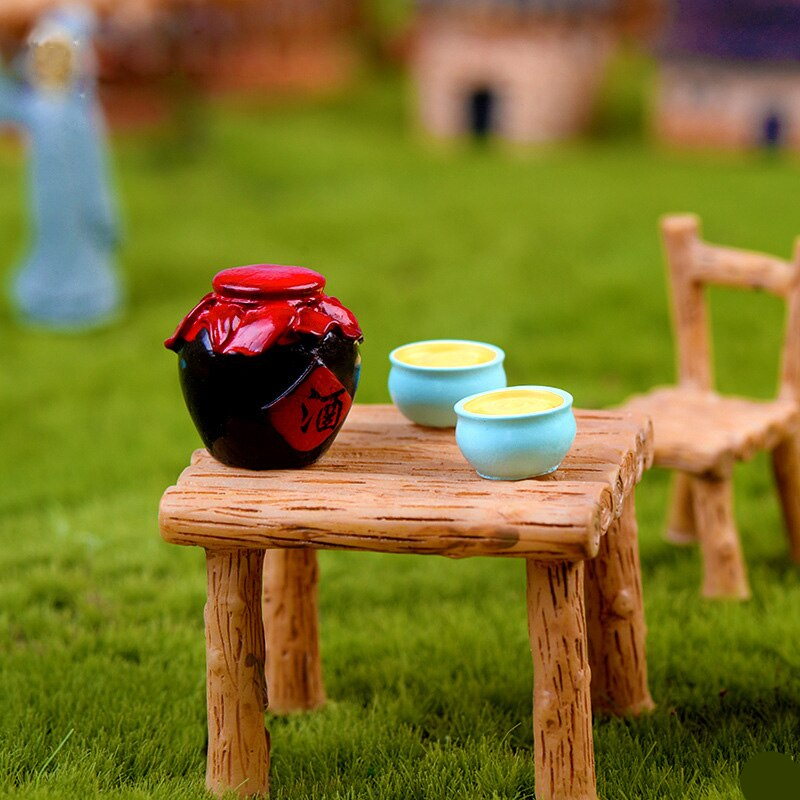 New Small Wine Jar Simulation Chinese Household Miniature figurine model fairy garden Dollhouse home decoration DIY accessories