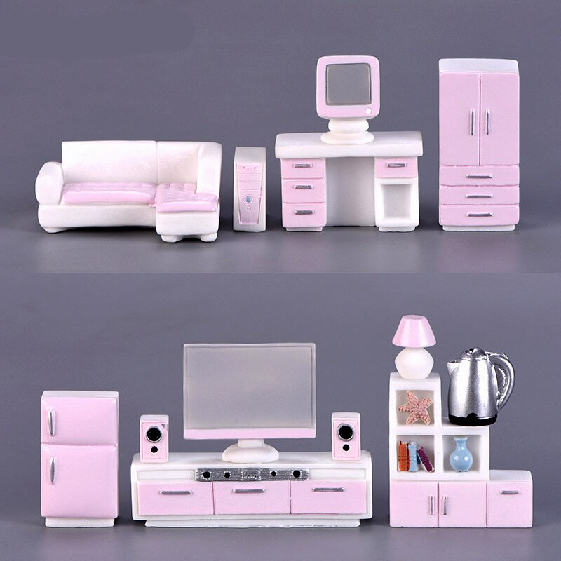 Girl Gift Pink Furniture Household appliances Miniature figurine model fairy garden Dollhouse home decoration DIY accessories