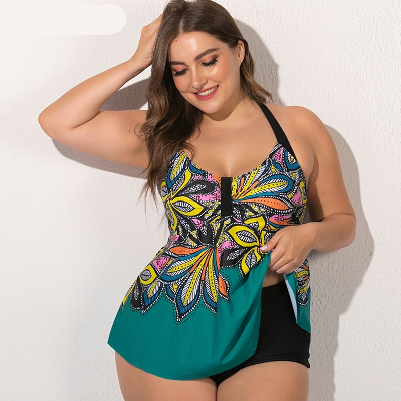 2020 New Plus Size Swimwear Women Tankini Swimsuits High Waist Swimsuit Floral Print Bathing Suits Large Size Swimming Suit 5XL