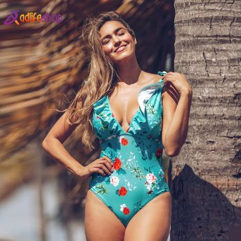 CUPSHE Teal Floral Ruffled V-Neck One-Piece Swimsuit Sexy Lace Up Padded Women Monokini 2020 Girl Beach Bathing Suit Swimwear