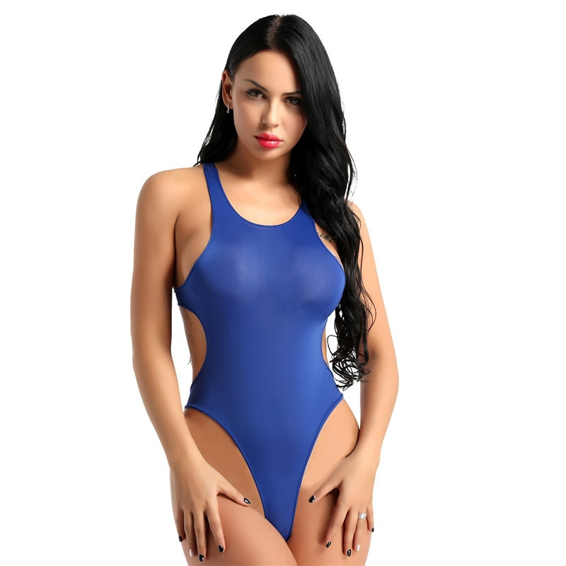TiaoBug Adult Sleeveless One-piece See Through Sheer Underwear Swimsuit High Cut Backless Swimwear Leotard Women Sexy Bodysuit