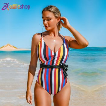 CUPSHE Tropic Of Discusssion Stripe One-piece Swimsuit Women Push Up Tied Bow Belt Monokini 2020 Girl Bathing Suit Swimwear