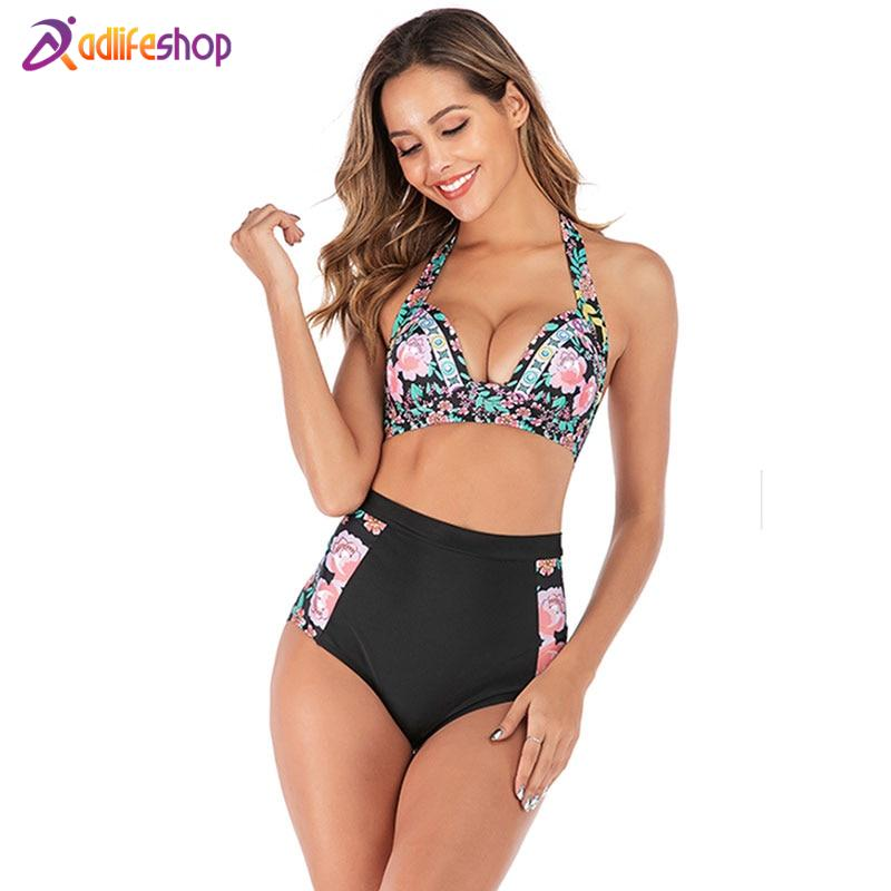2020 Woman Plus Size Swimwear High Waist S-3XL Bikini Big Women Bathing Suits Floral Vintage Female Sexy Bather Swimsuits