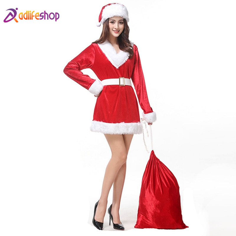 New Arrival Christmas Dresses Women Santa Claus Holiday Costume Cosplay Girls Xmas Outfit Fancy Party Animation Clothing