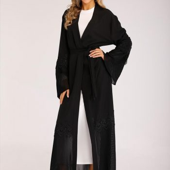 Elegant Muslim Embroidery Maxi Dress Pleated Abaya Cardigan Kimono Long Robe Gowns Jubah Middle East Eid Ramadan Arab Islamic